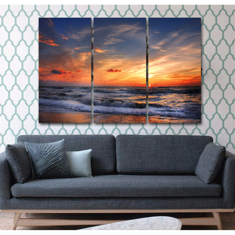 Sunset Beach-Wallart 3 Piece Vertical Rectangle-Medium - Not framed-Orange/Blue-Cool Tees & Things
