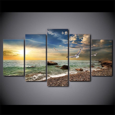 Sunset Beach Landscape-10x15 10x20 10x25cm-Framed-Blue-Cool Tees & Things