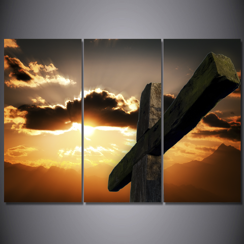 Sunset Cross-Wallart 3 Piece Vertical Rectangle-Medium - Not framed-Brown/Orange-Cool Tees & Things