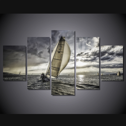Sunset Sailing-Wallart 5 Piece Diamond-Medium - Not framed-Black/Khaki/White-Cool Tees & Things