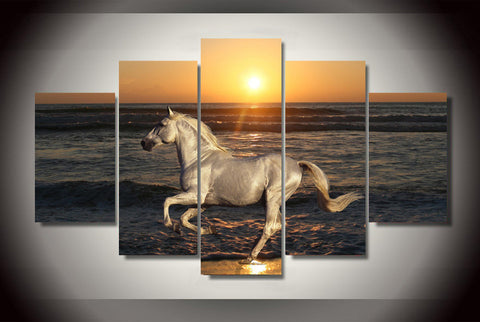 Sunset Shore Horse Canvas - Cool Tees and Things