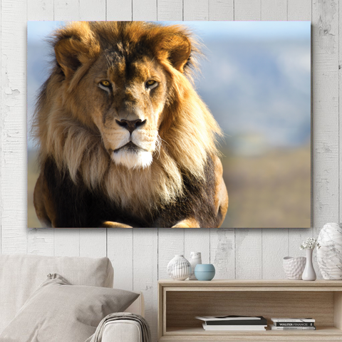 The Majestic Lion-Wallart Rectangle-Medium - No frame-Blond Brown-Cool Tees & Things