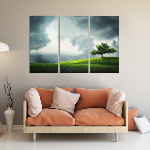 The Lonely Tree Canvas-Wallart 3 Piece Vertical Rectangle-Medium - Not framed-Grey-Cool Tees & Things