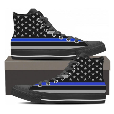 Thin Blue Line High Tops - Cool Tees and Things