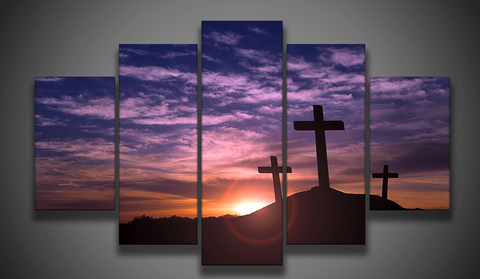 Three Crosses At Calvary-Medium-Not Framed-Purple,Orange-Cool Tees & Things