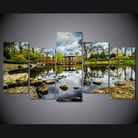 Tranquil Pond-Wallart 5 Piece Staggered-Medium - No frame-Green/Blue/Brown Rust-Cool Tees & Things