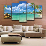 Tropical Beach Seascape Canvas Painting-Not Framed-Blue-Medium-Cool Tees & Things