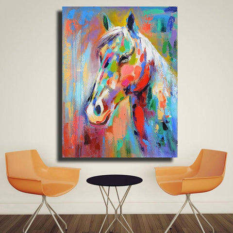 Vibrant Horse Canvas Print-12X16-Blue-Not Framed-Cool Tees & Things