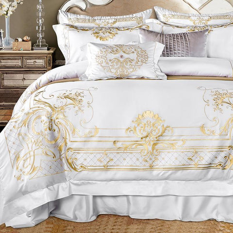 White Egyptian Cotton Luxury Golden Embroidery Bedding set- Cool Tees and Things