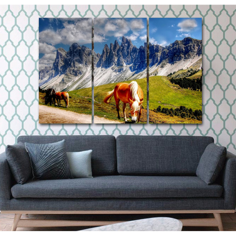 Horse Lovers Canvas-Wallart 3 Piece Vertical Rectangle-Medium - Not framed-Brown/White/Blue/Green-Cool Tees & Things