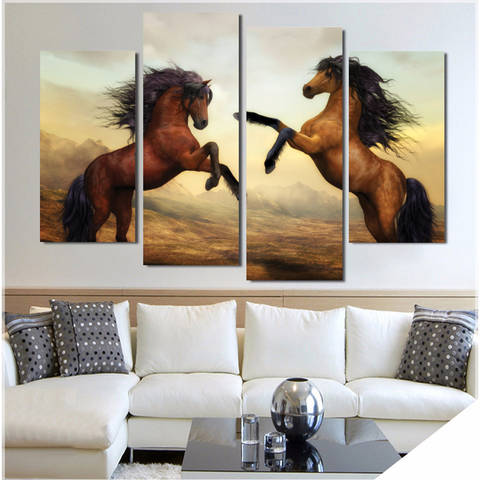 Wild Horses-Wallart 4 Piece Staggered 2-Medium - No frame-Brown/Black/White-Cool Tees & Things