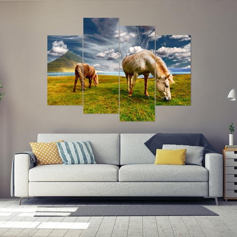Wild Horses Grazing in the Grass Canvas-Medium-Not Framed-Orange-Cool Tees & Things