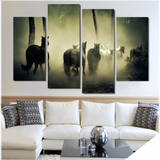 Wild Horses In The Mist-Medium-Not Framed-Black/White/Yellow-Cool Tees & Things