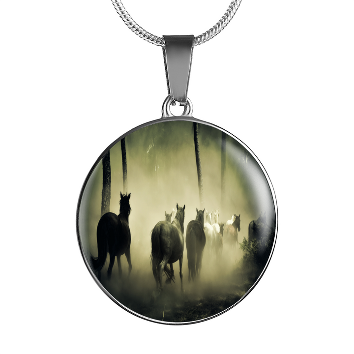 Wild Horses In The Mist Pendant - Cool Tees and Things