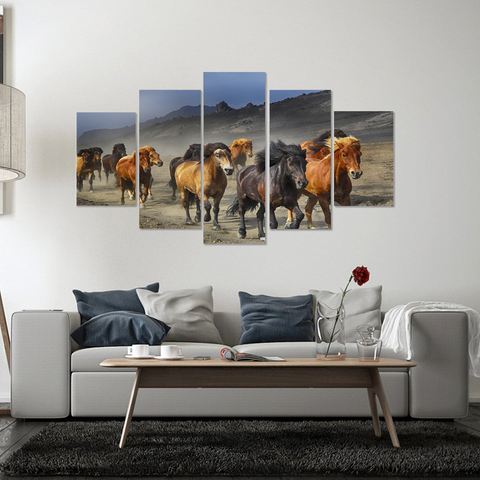 Wild Stallion Stampede Canvas Print Wall Art Mural - Cool Tees and Things