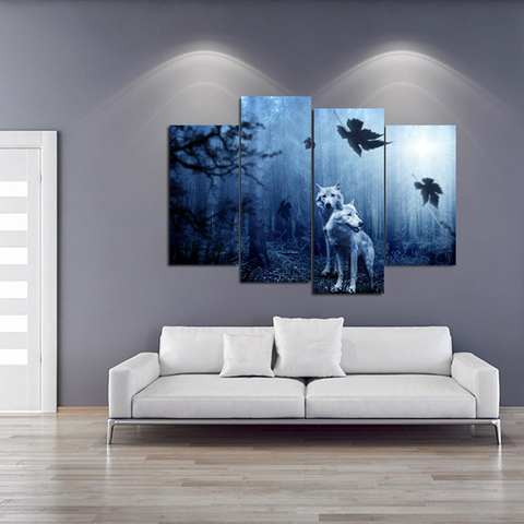 Wolves in the Dark Forest Canvas-Medium-Not Framed-Gray-Cool Tees & Things