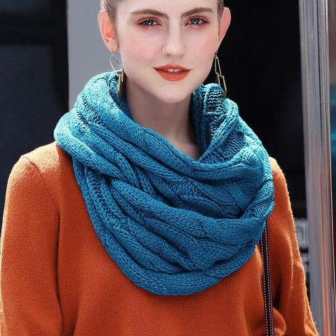 Womens Knitted Cashmere Infinity Scarves. Winter and Fall Cable Ring Scarf.  Neck Circle Scarf. - Cool Tees and Things