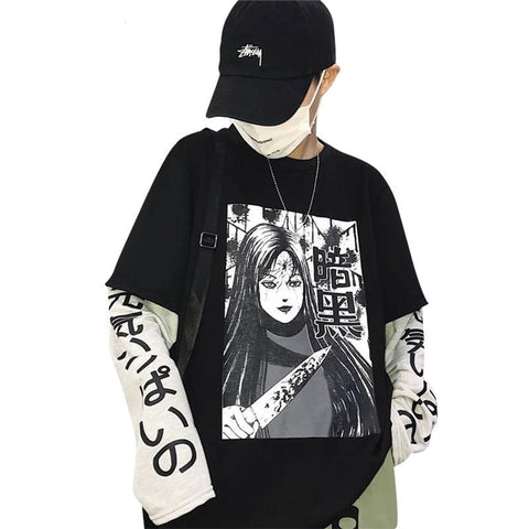 Womens Casual Streetwear Anime Print Long Sleeve Sweatshirt
