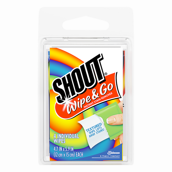Shout Wipe & Go Instant Stain Remover Wipes Travel Size - 4 Pack