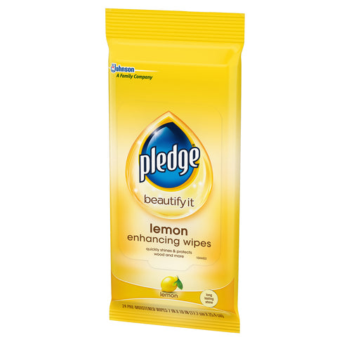 Pledge Lemon Enhancing Wipes 24 Pieces - 4 Pack