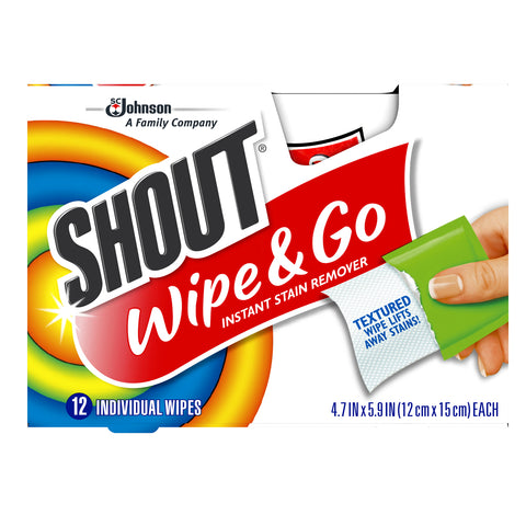 Shout Wipe & Go Instant Stain Remover Wipes 12 Pieces - 8 Pack