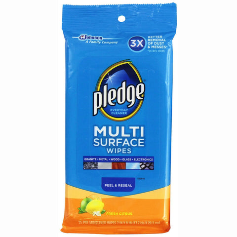 Pledge Multisurface Wipes Fresh Citrus 25 Pieces - 6 Pack