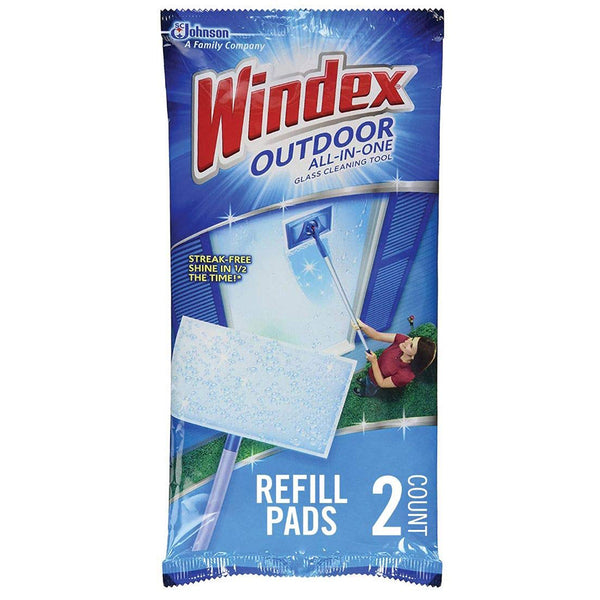 Windex Outdoor All-In-One Glass Cleaning Tool Pads Refill 2 Pieces - 4 Pack