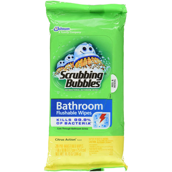 Scrubbing Bubbles Antibacterial Bathroom Flushable Wipes 28 Pieces