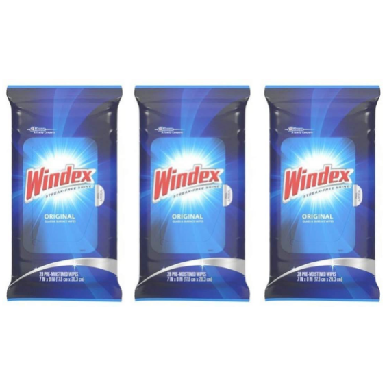 Windex Original Glass and Surface Wipes, 28 Count - 3 Packs