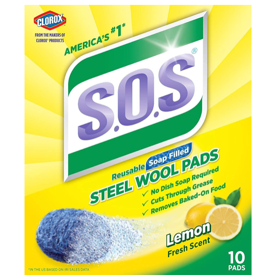 S.O.S Steel Wool Soap Pads, Lemon Fresh, 10 Count