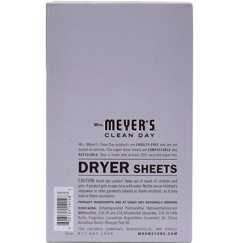 Mrs. Meyer's Clean Day Dryer Sheets, Lavender, 2 Pack, 160 Count