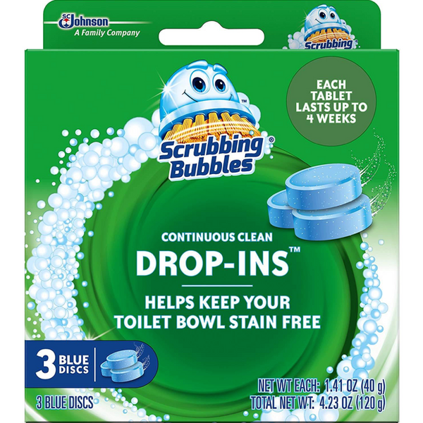 Scrubbing Bubbles Continuous Clean Drop-Ins, Blue Disc, 3 ct, 4 Pack