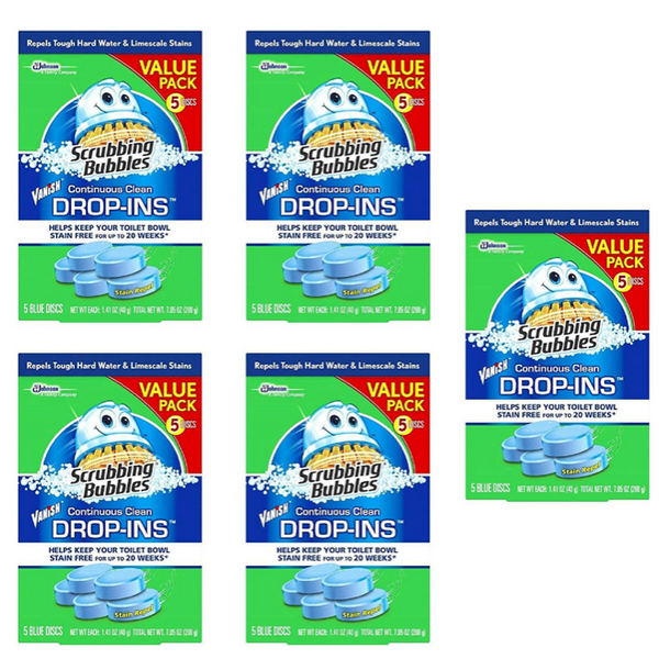 Scrubbing Bubbles Toilet Cleaner Drop Ins, 5 x 5 Count