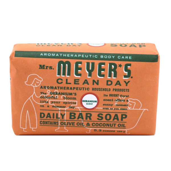 Mrs Meyers Bar Soap Geranium 5.3 oz, 150 g - 3 Pack