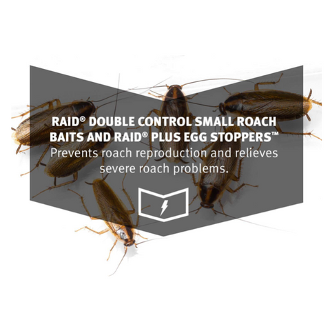 Raid Double Control Small Roach Baits Plus Egg Stopper, 12 CT, Pack of 6