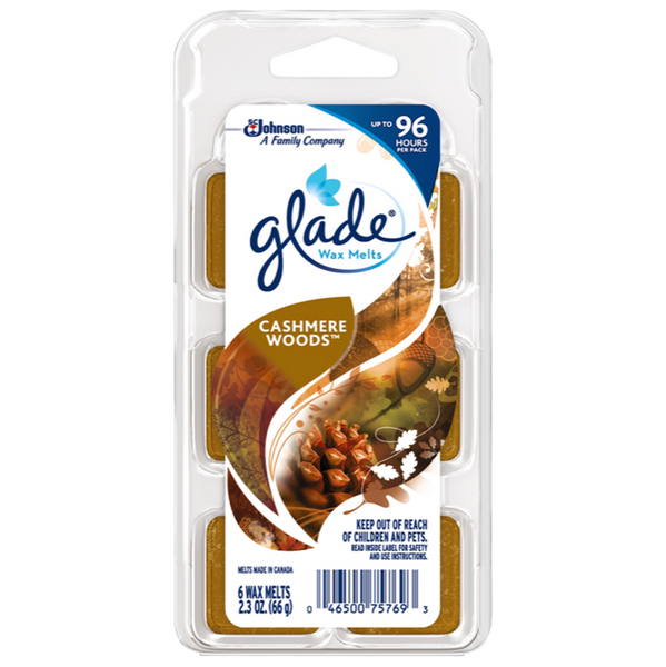 Glade Wax Melts, Cashmere Woods, 6 Count, Pack of 4