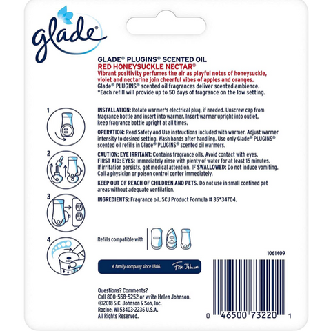 Glade Piso Refills Red Honeysuckle Nectar, 3 Count