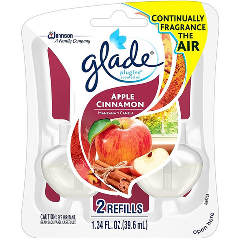 Glade PlugIns Scented Oil Air Freshener Refills, Apple Cinnamon, 12 Count