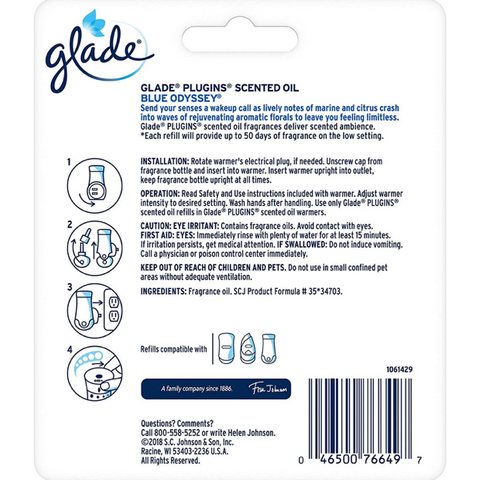 Glade PlugIns Scented Oil Refill Blue Odyssey, 1.34 oz, Pack of 2