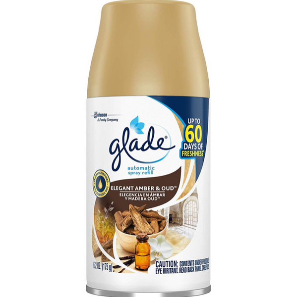 Glade Automatic Spray Refill Elegant Amber & Oud, 6.2 oz, Pack of 6