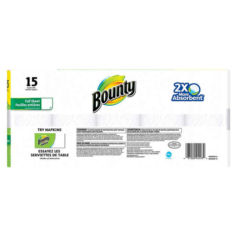 Bounty Paper Towels Regular Rolls 15 Count