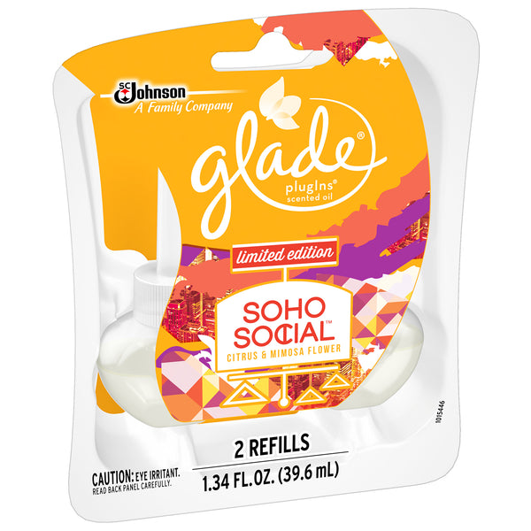 Glade SOHO Social PLUGINS Scented Oil Refills Limited Citrus & Mimosa, 12 Pack