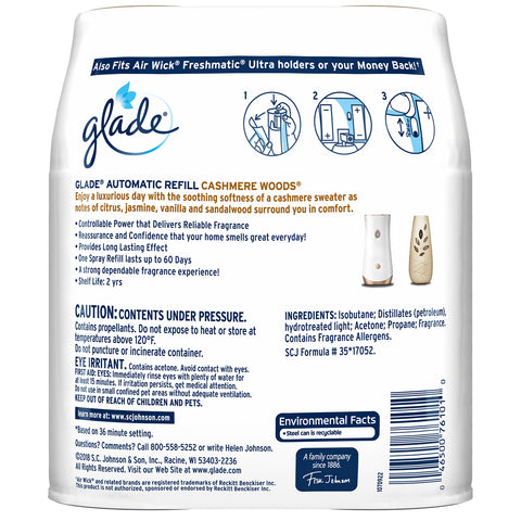 Glade Automatic Spray Refill Cashmere Woods 2 Pieces - 2 Pack