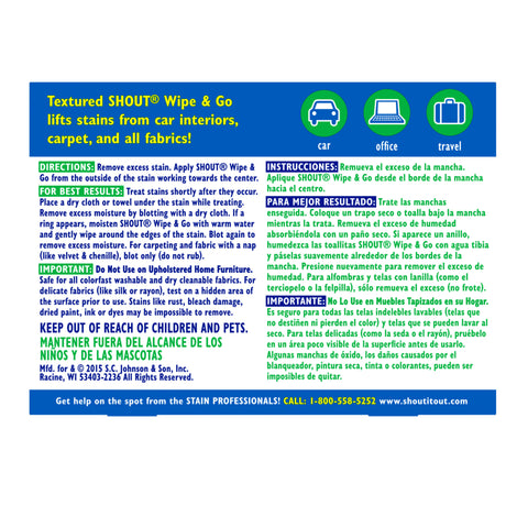 Shout Wipe & Go Instant Stain Remover Wipes 12 Pieces - 6 Pack
