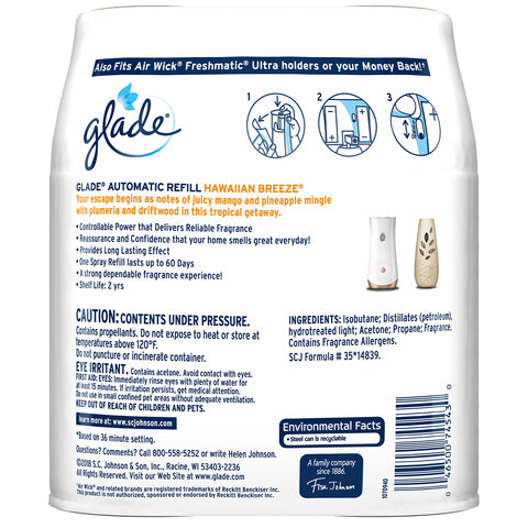 Glade Automatic Spray Refill Hawaiian Breeze 2 Pieces - 3 Pack