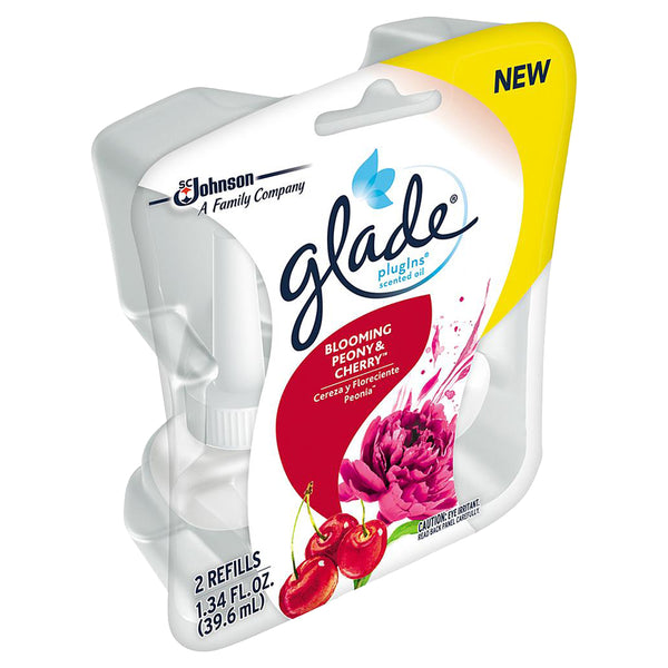 Glade Plugins Blooming Peony & Cherry Scented Oil Refill, Spring Summer, 5 Pack