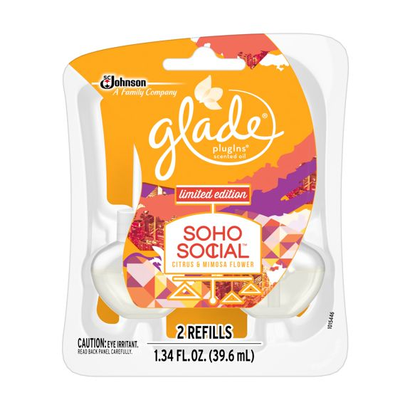 Glade Plugins Scented Oil Air Freshener, Refill, Soho Social, 1.34 oz, 2 ct