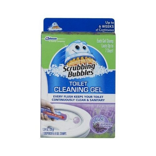 Scrubbing Bubbles Toilet Cleaning Gel 1 Dispenser 6 Gel Stamps Lavender Meadow