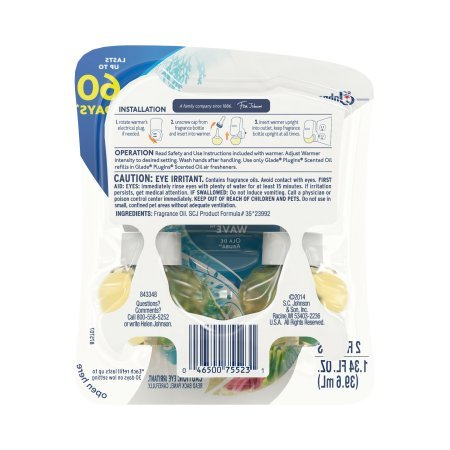 Glade PlugIns Scented Oil Air Freshener Refill, Aruba Wave, 1.34 Fluid Ounce - 3 Packs