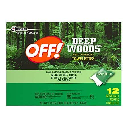 OFF! Deep Woods Insect Repellent Wipes, 12 Towelettes, Pack of 12